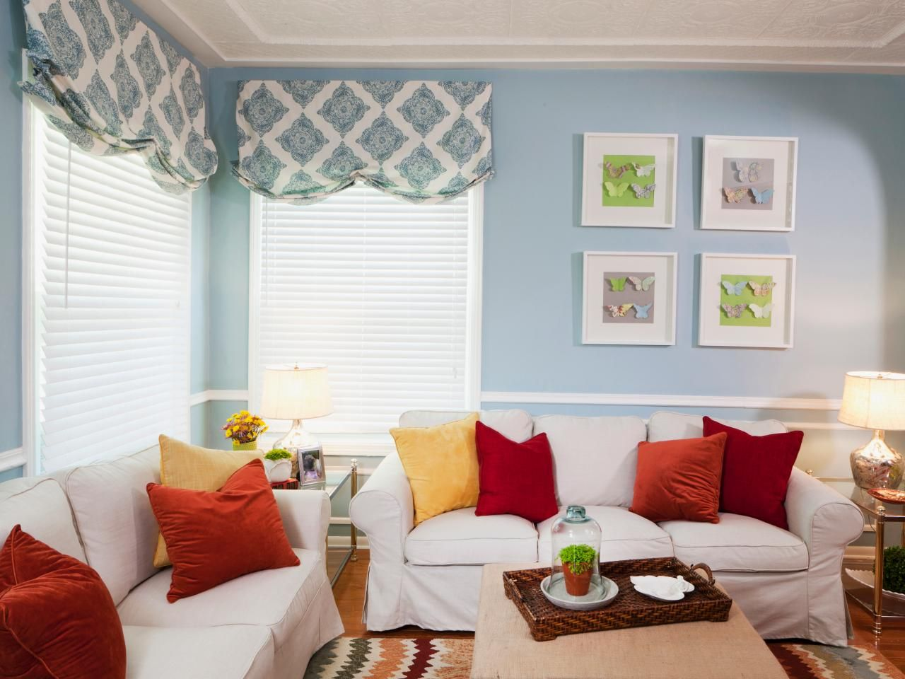 A blue-and-white color palette evokes a calm, casual atmosphere for ...