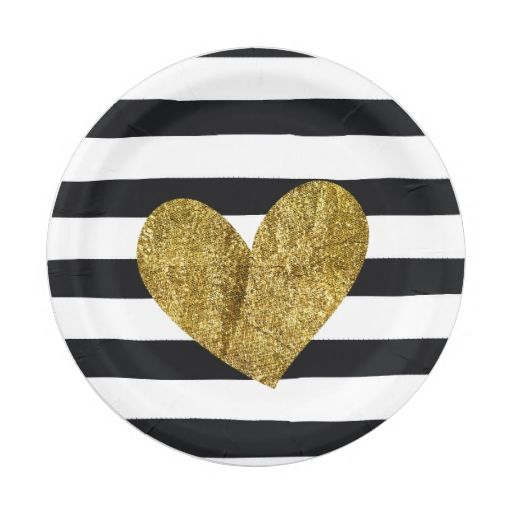 Black and White Stripes Gold Heart Paper Plate  sc 1 st  Pinterest & Black and White Stripes Gold Heart Paper Plate | Baby shower plates ...