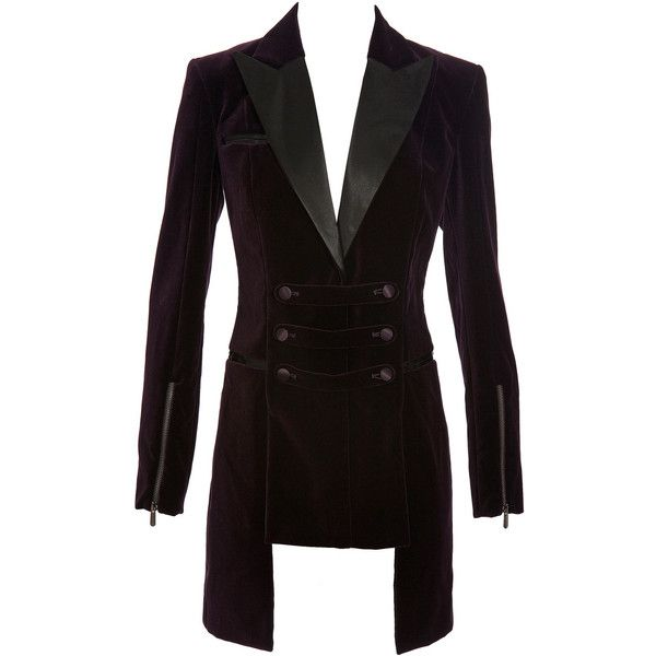Versus Long Velvet Riding Jacket (7.555 BRL) ❤ liked on Polyvore featuring outerwear, jackets, coats, blazers, coats & jackets, zipper jacket, black zip jacket, long jacket, black fitted jacket and black zipper jacket