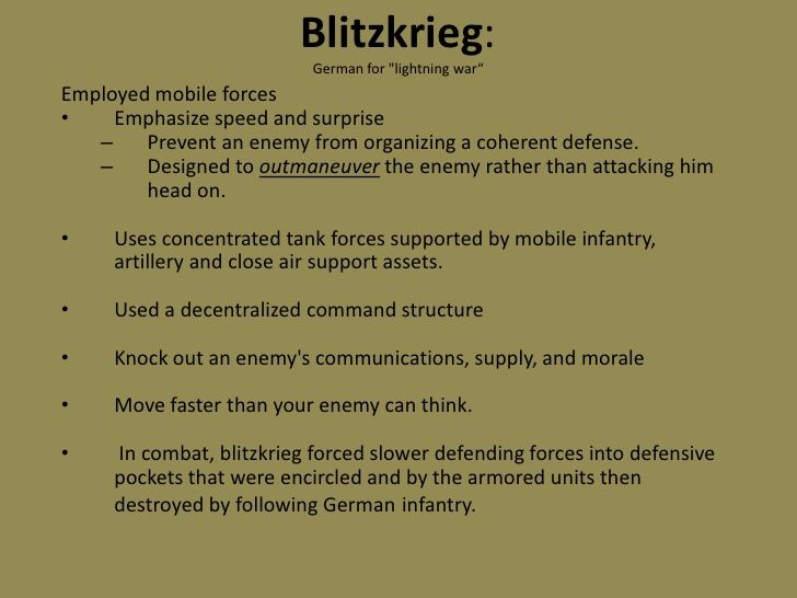 1939 The new German technique of blitzkrieg lightning war is