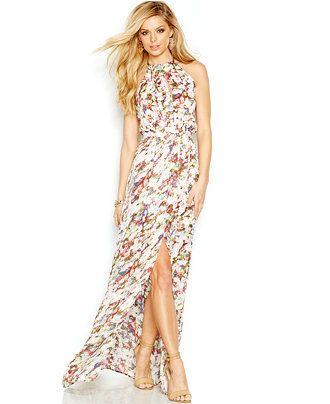GUESS Floral Halter Maxi Dress - Dresses - Women - Macy's ...