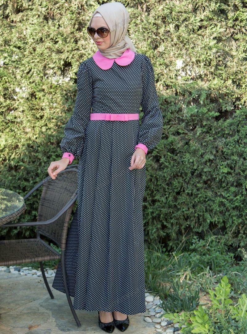 Pembe Düğmeli Puanlı Elbise 5032 - Siyah - Mustafa Dikmen