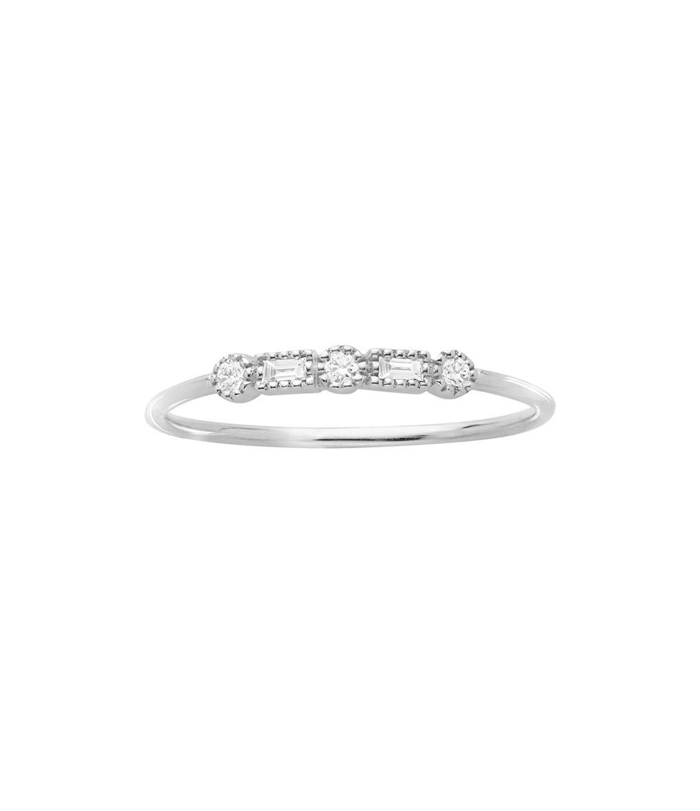 Photo of STONE PARIS – Bague Simple Serenity Or Diamants – Or blanc – 54