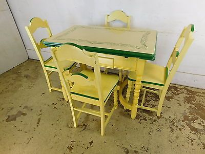 Antique 1940s Deco Mcm Stenciled Enamel Top Kitchen Table 4 Wood Painted Chairs Vintage Kitchen Table Dining Chair Covers Painted Chairs