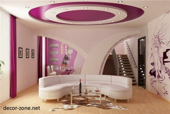 Roundfalseceilingdesignsforlivingroommadeofgypsumboard Unique Ceiling Designs For Living Rooms Design Ideas