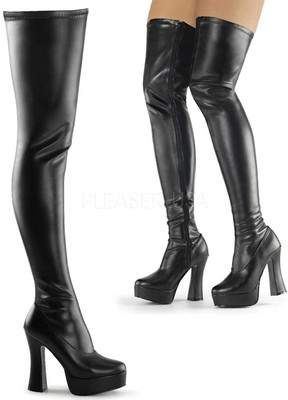 Pleaser electra 3000Z cuisse haute cuissardes bottes noires à talons hauts plateforme zip