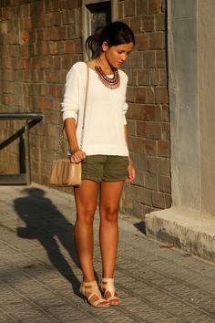 Cream sweater, olive shorts | Styling Spring Summer 16 | Pinterest ...