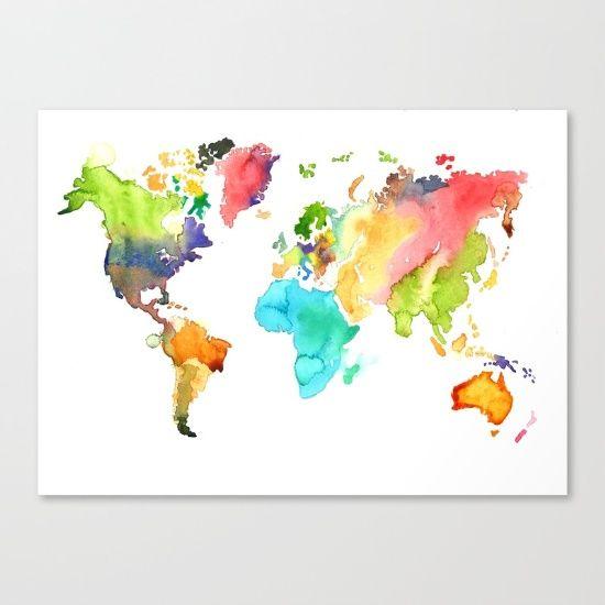 Watercolor World Map Canvase Fine Art Print On Bright White Fine