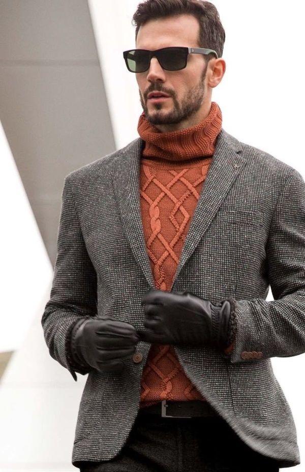 ツイードジャケット,オレンジハイネックセーター