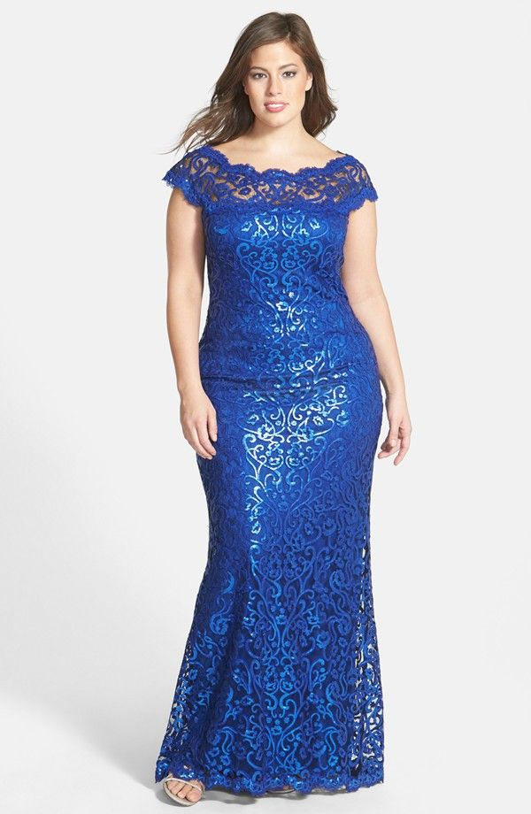 Tadashi Shoji Plus Size Sequin Lace Gown Available at Nordstrom ...