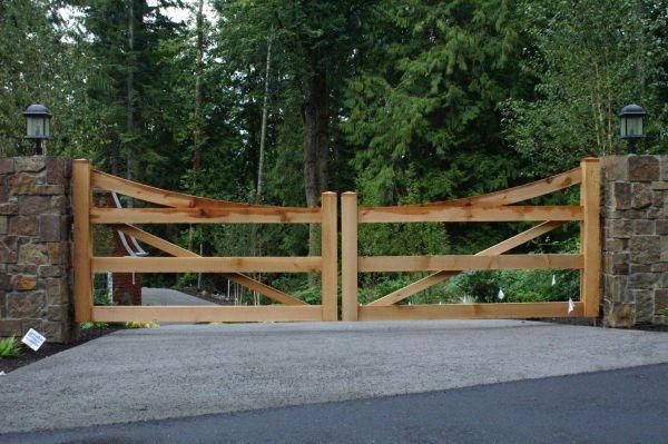 Custom Wood Ranch Style Vehicle Gate Rustic Seattle Wood