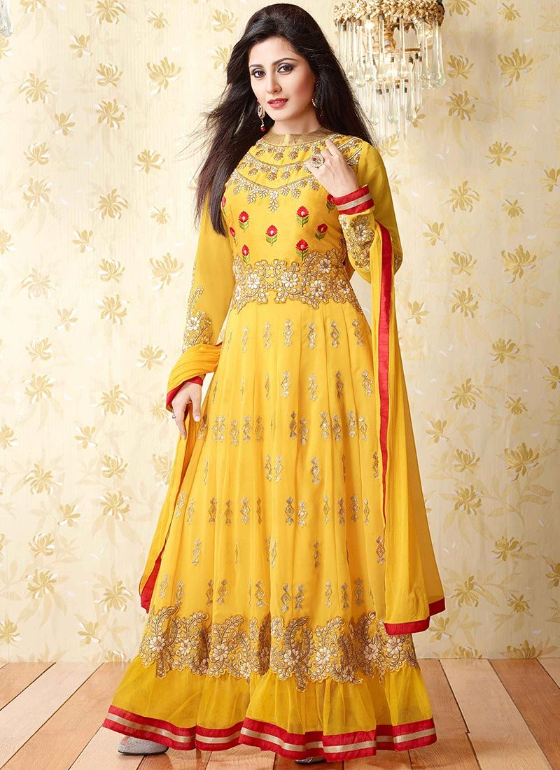 Yellow rimi sen floor length anarkali bollywood celebrity