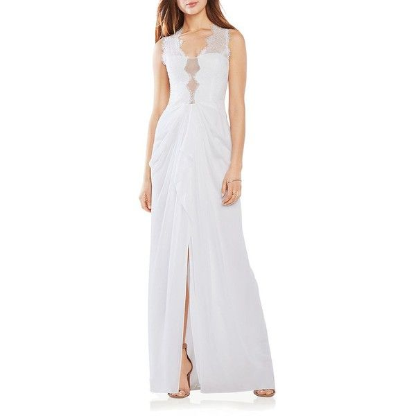 Bcbgmaxazria Lace Inset Gown ($218) ❤ liked on Polyvore featuring dresses, gowns, white, cut out dress, white evening gowns, bcbgmaxazria dress, cutout dress and white ball gowns