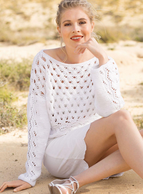 jersey blanco con un patrón de bucles alargados | blusas y jerseys ...
