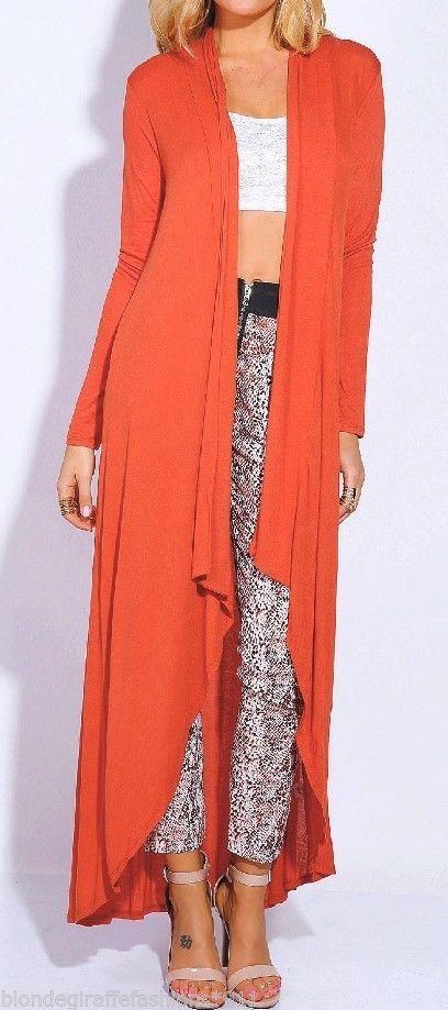 Rust Orange L/Sleeve Drape Hi-Low Maxi Tunic Open Front Cardigan ...