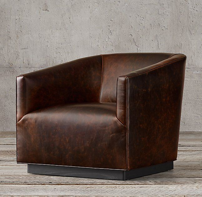 1950s Italian Shelter Arm Leather Chair