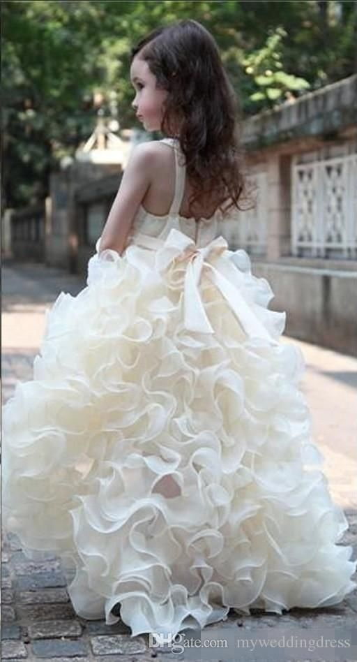 2015 Junior Flower Girls Dresses For Weddings Ivory V Neck Organza High Low Toddler  Formal Ruffles Dress Little Girl Pageant Long Kids Gowns Puffy Flower ... d218ea8db274
