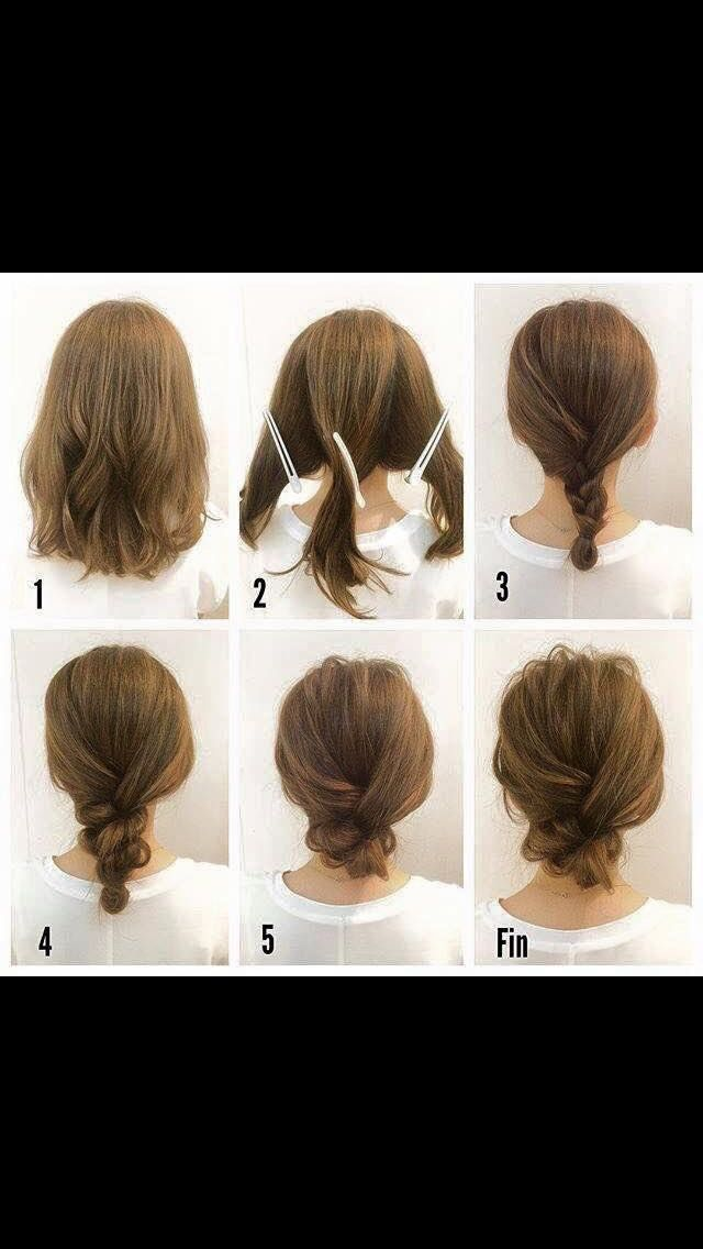Braid Bun For Short Hair Hair Styles Short Hair Up Hair Tutorial