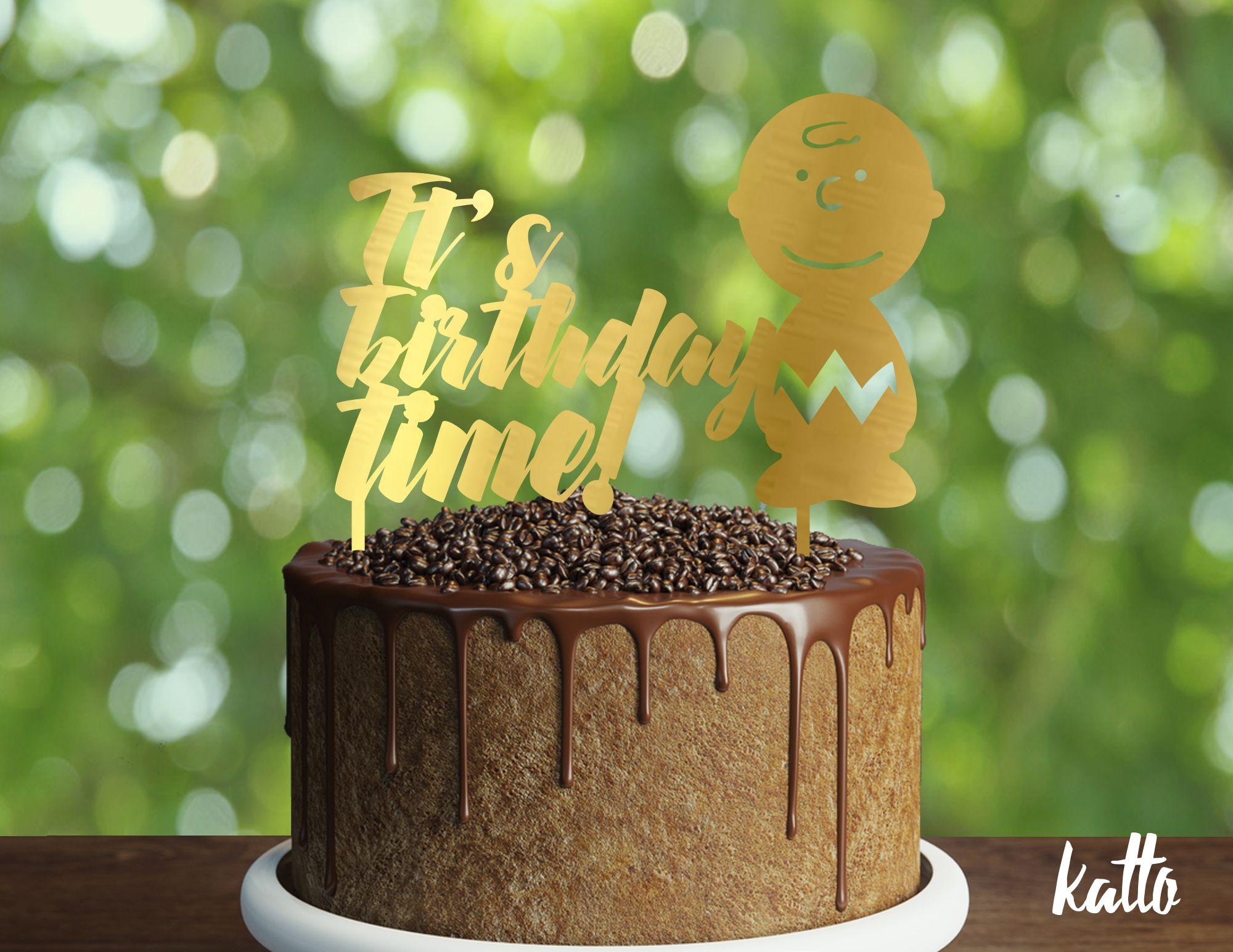 Its birthday time Charlie Brown cake topper Snoopy birthday cake