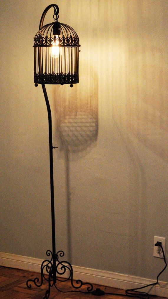 Vintage Wrought Iron Birdcage Lamp With Filament Bulb By