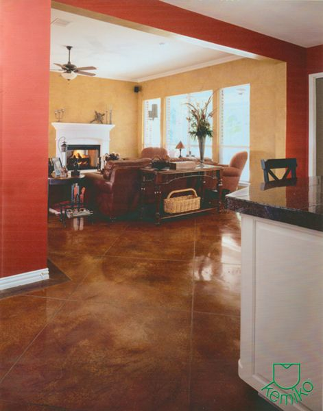 Cola w english red stain black border kemiko clear wax for Best wax for stained concrete floors