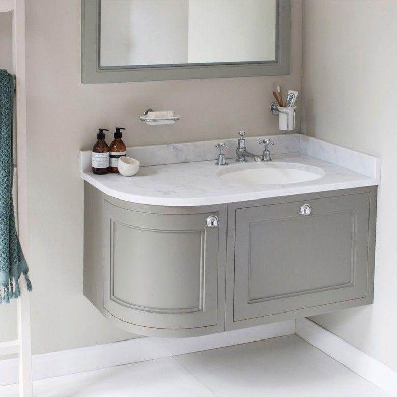 Burlington 100 Right Hand Corner Wall Hung Vanity Unit With Minerva Worktop Basin Modern Bathroom Vanity Washbasin Design Bathroom Layout