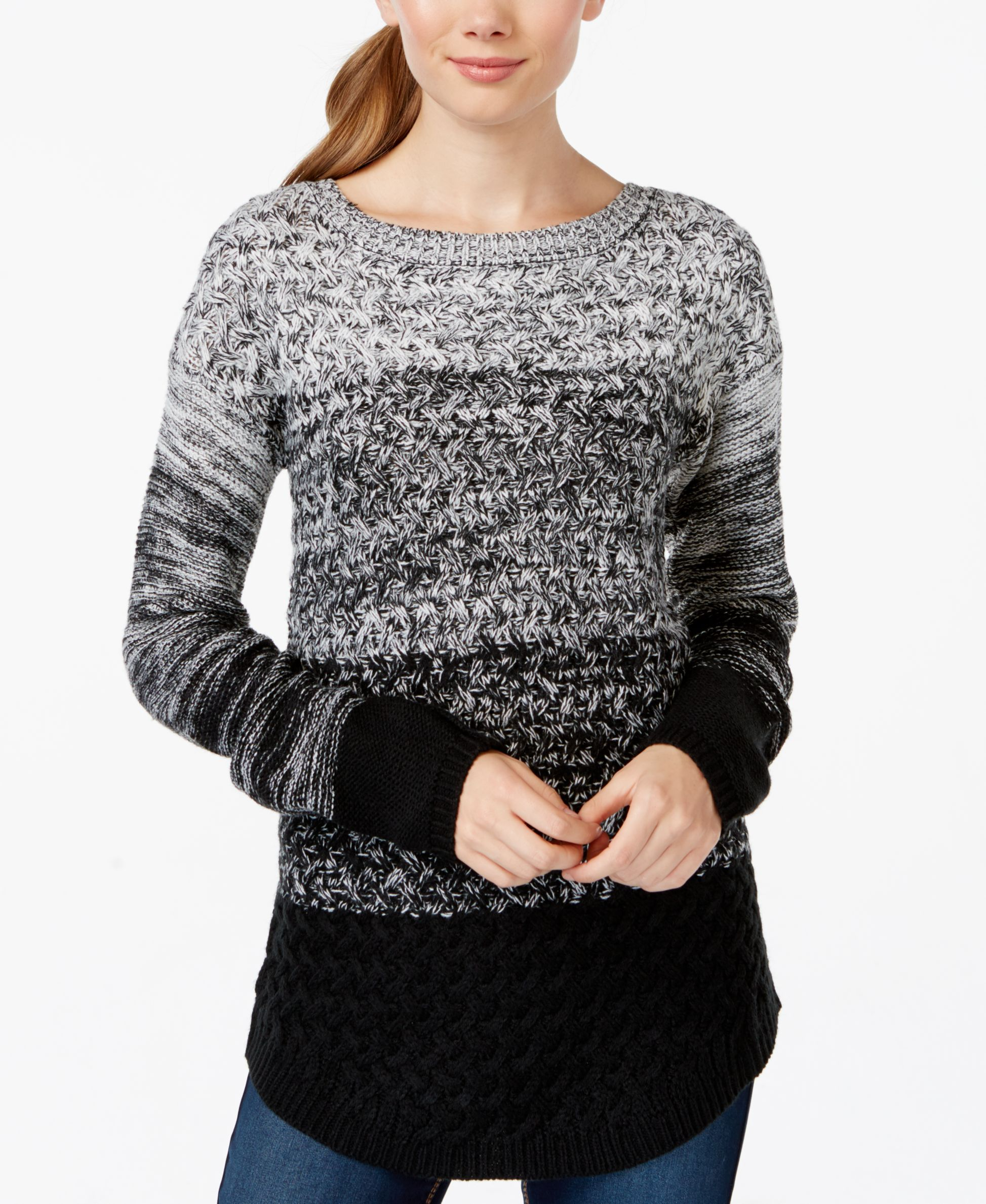 It's Our Time Juniors' Ombre Mixed-Knit Tunic Sweater acrylic black/spiritual vanilla, dry desert/spiritual vanilla szS 32.99 Sale thru 10/25 20%off thru 10/25 (26.39)