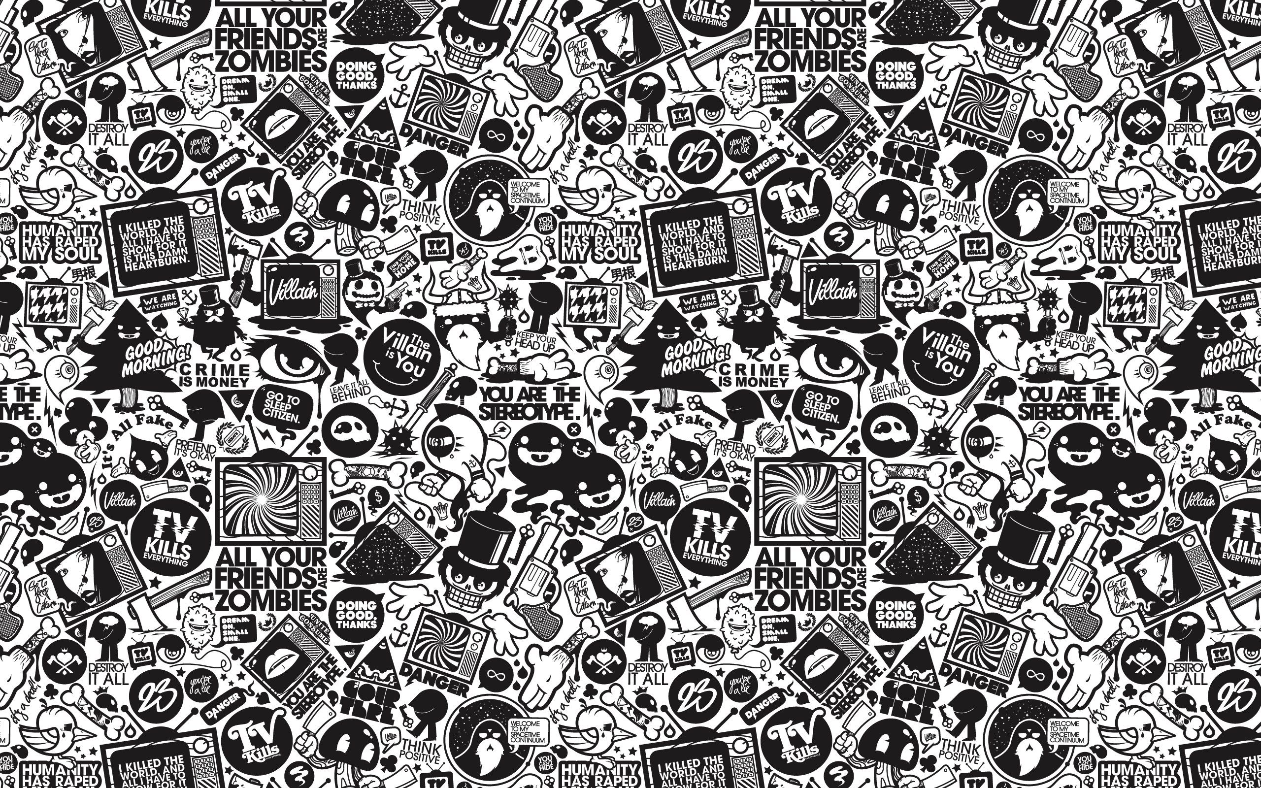 Beautiful Pictures Of Dark Black And White Cartoon Cartoon Wallpaper Doodle Background