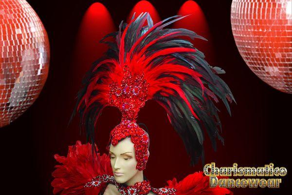 Charismatico Dancewear Store - Red Drag Queen SAMBA RIO CARNIVAL Feather Headdress BRA Costume set, $260.00 (http://www.charismatico-dancewear.com/red-drag-queen-samba-rio-carnival-feather-headdress-bra-costume-set/)