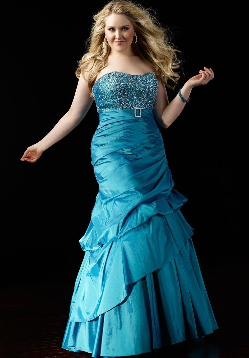 Taffeta strapless mermaid plus size prom dress p things i love