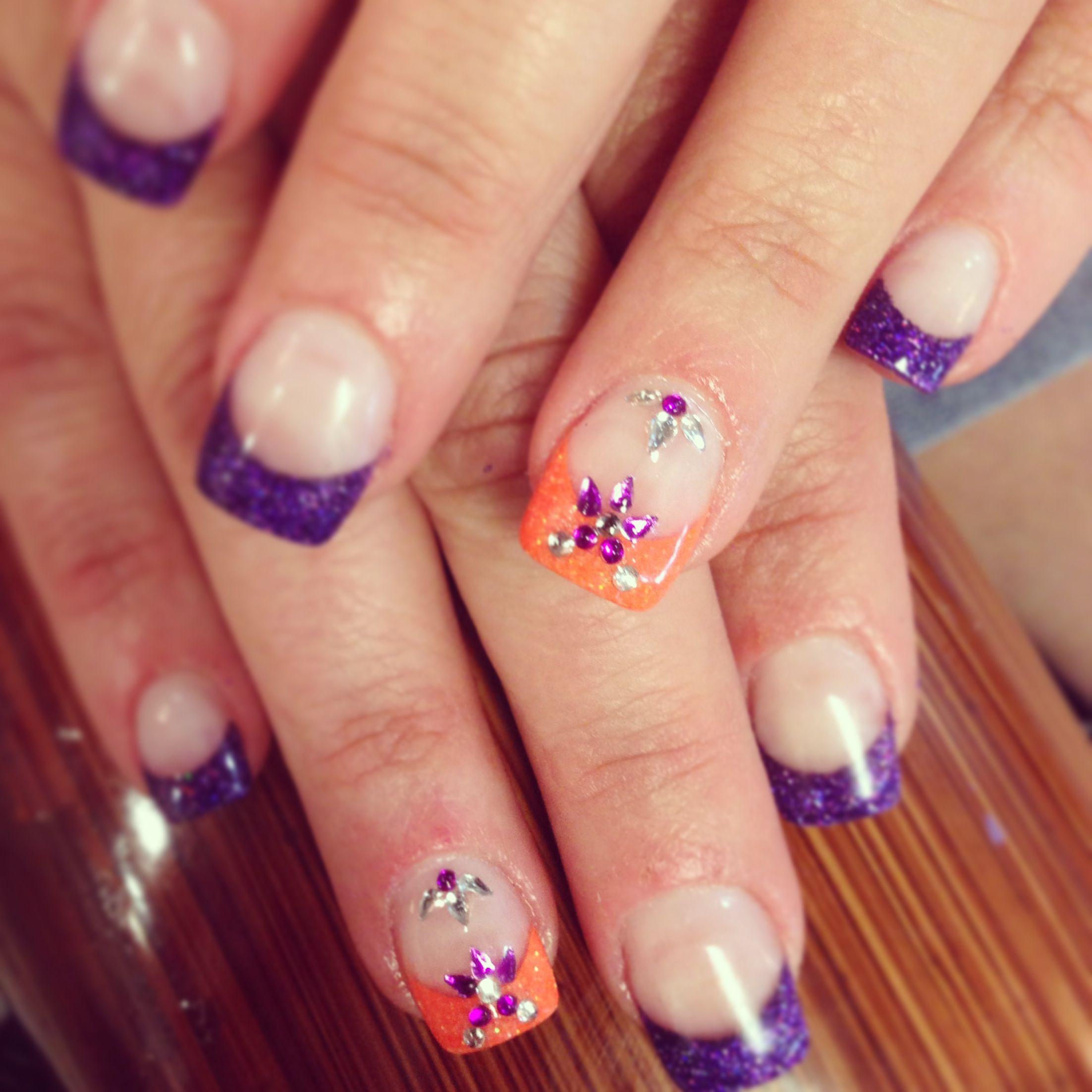 orange and purple solar nails with rhinestones #solaveibash