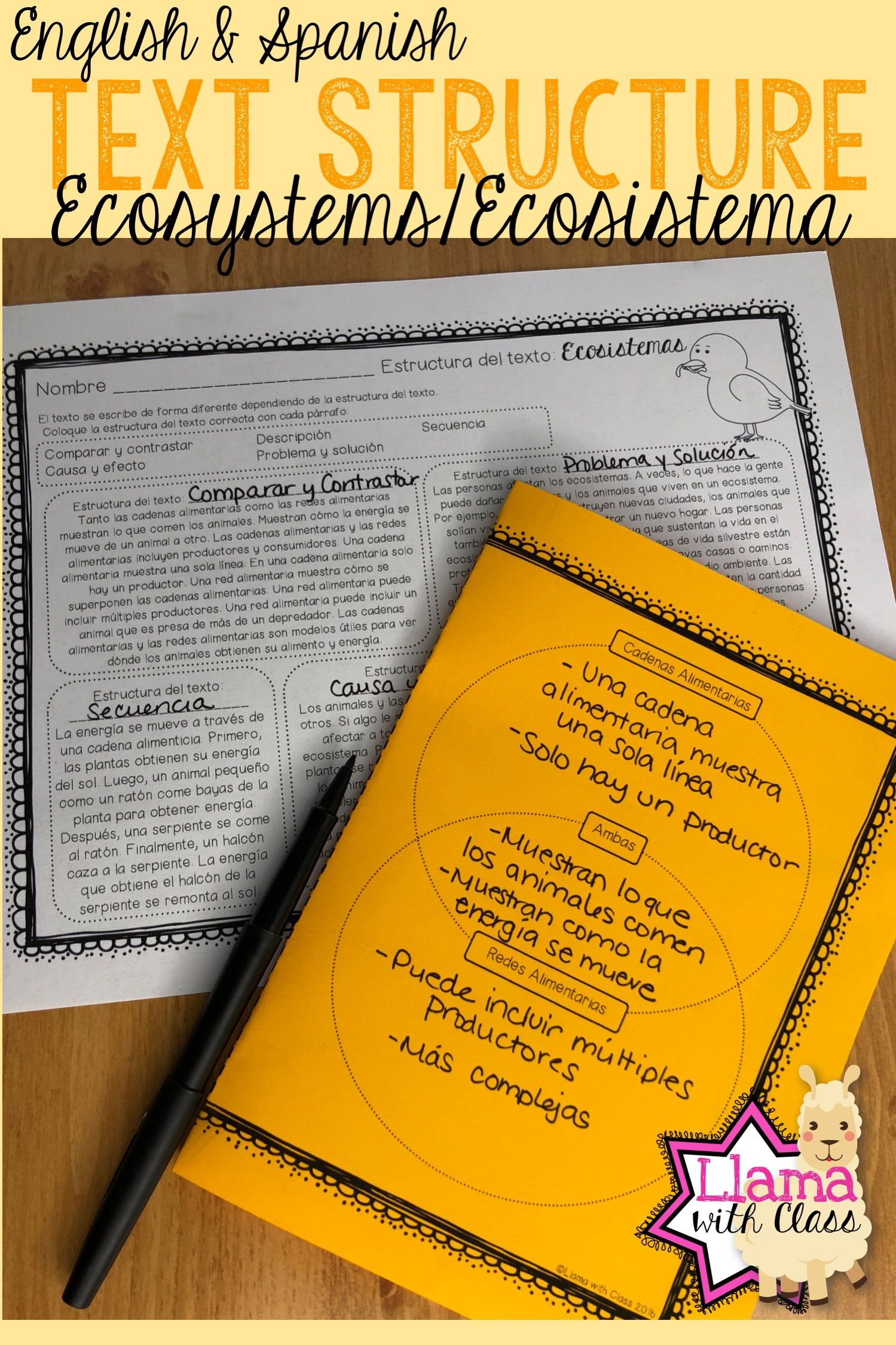 Ecosystem Text Structure Worksheets In English Amp Spanish