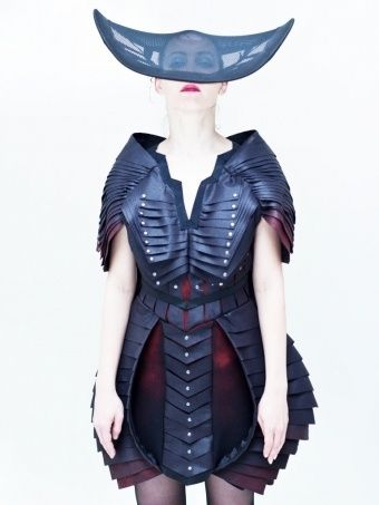 Future Fashion. Jacob Bridge panel dress, futuristic clothing, art fashion, girl in black, hat, futuristic fashion, avant-garde fashion by FuturisticNews.com