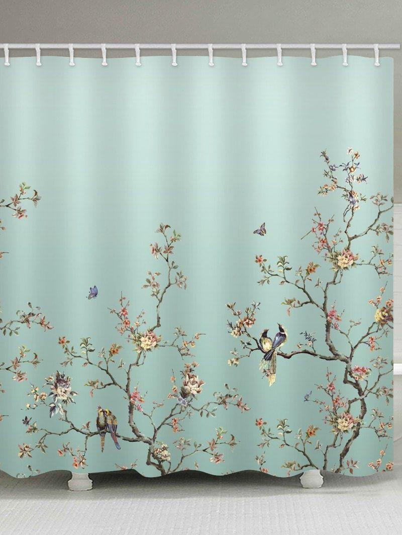 Birds Tree Branch Flower Print Shower Curtain