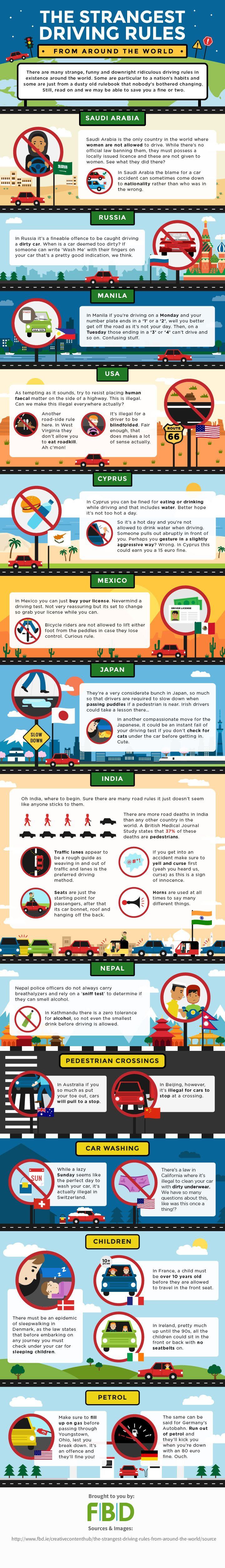 The Strangest Driving Rules From Around The World #Infographic