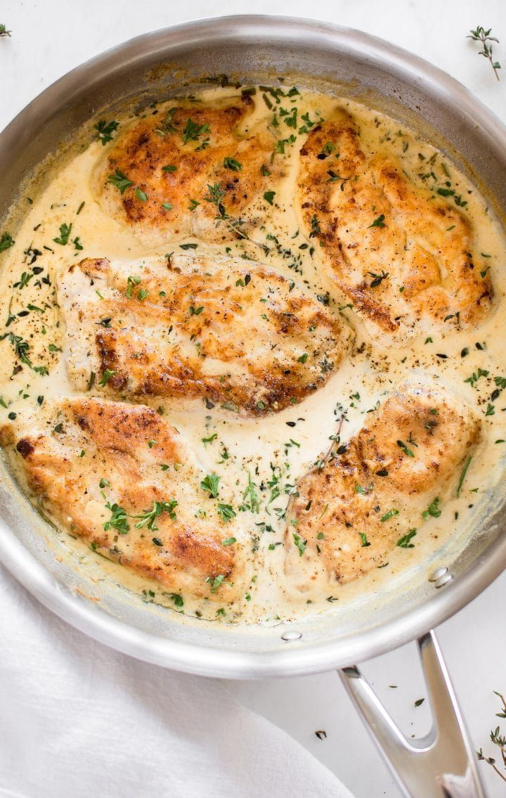 Herb Chicken Tender chicken breasts smothered in a creamy herb sauce makes a simple and delicious comfort food dinner. Creamy herb chicken is great served over potatoes or pasta!  ** USE GLUTEN FREE FLOUR**Tender chicken breasts smothered in a creamy herb sauce makes a simple and delicious comfort food dinner. Creamy herb chicken is great served over potato...