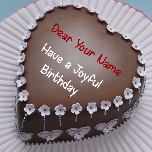 Beautiful Chocolate Heart Birthday Cake With Your Name Cakes In