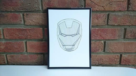 Ironman - Monochrome Superhero Print, Childrens Room, Superhero Gift, Kids Room Decor, Personalised Print, Boys Print, Personalised Gift #superherogifts