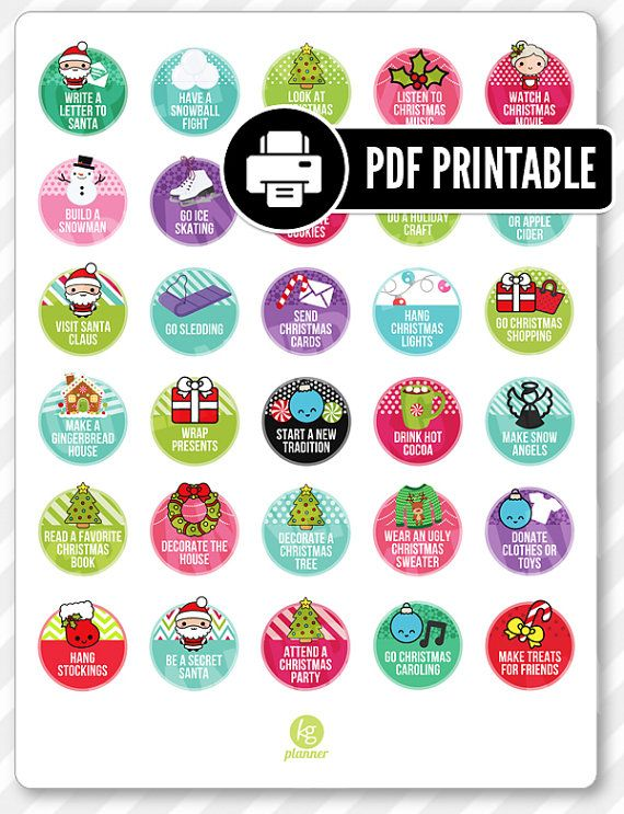 Winter Bucket List PDF PRINTABLE Planner Stickers for Erin Condren Planner, Filofax, Plum Paper