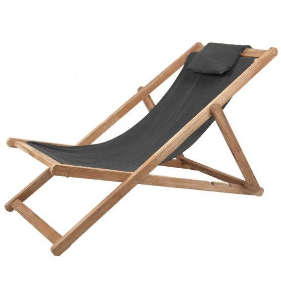 chaise longue en bois gris anthracite