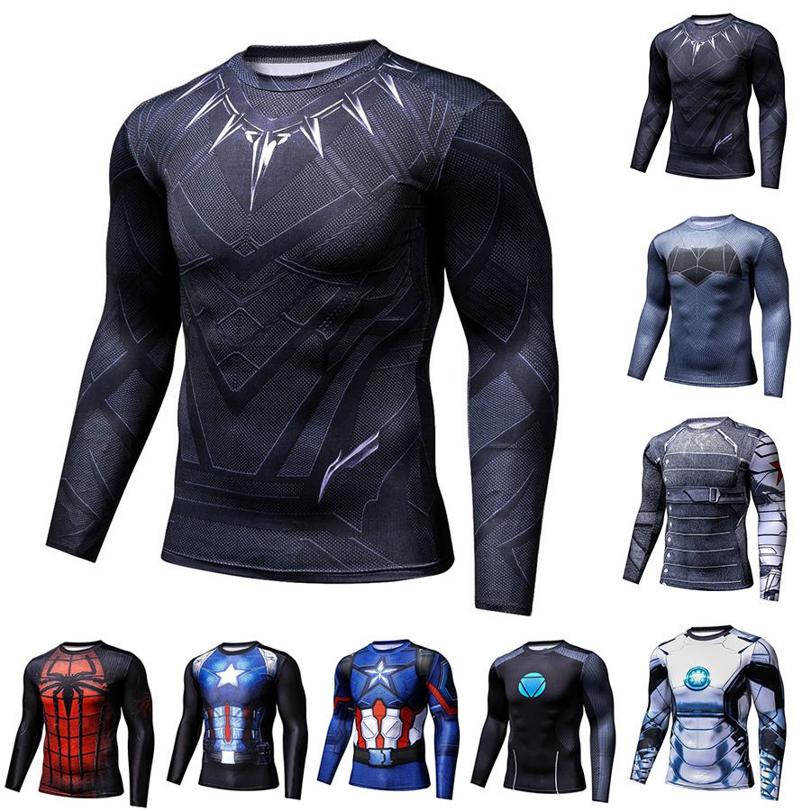 Men Gym Superhero Compression 3D Comics T-shirt Short Long Sleeve Sport Jersey
