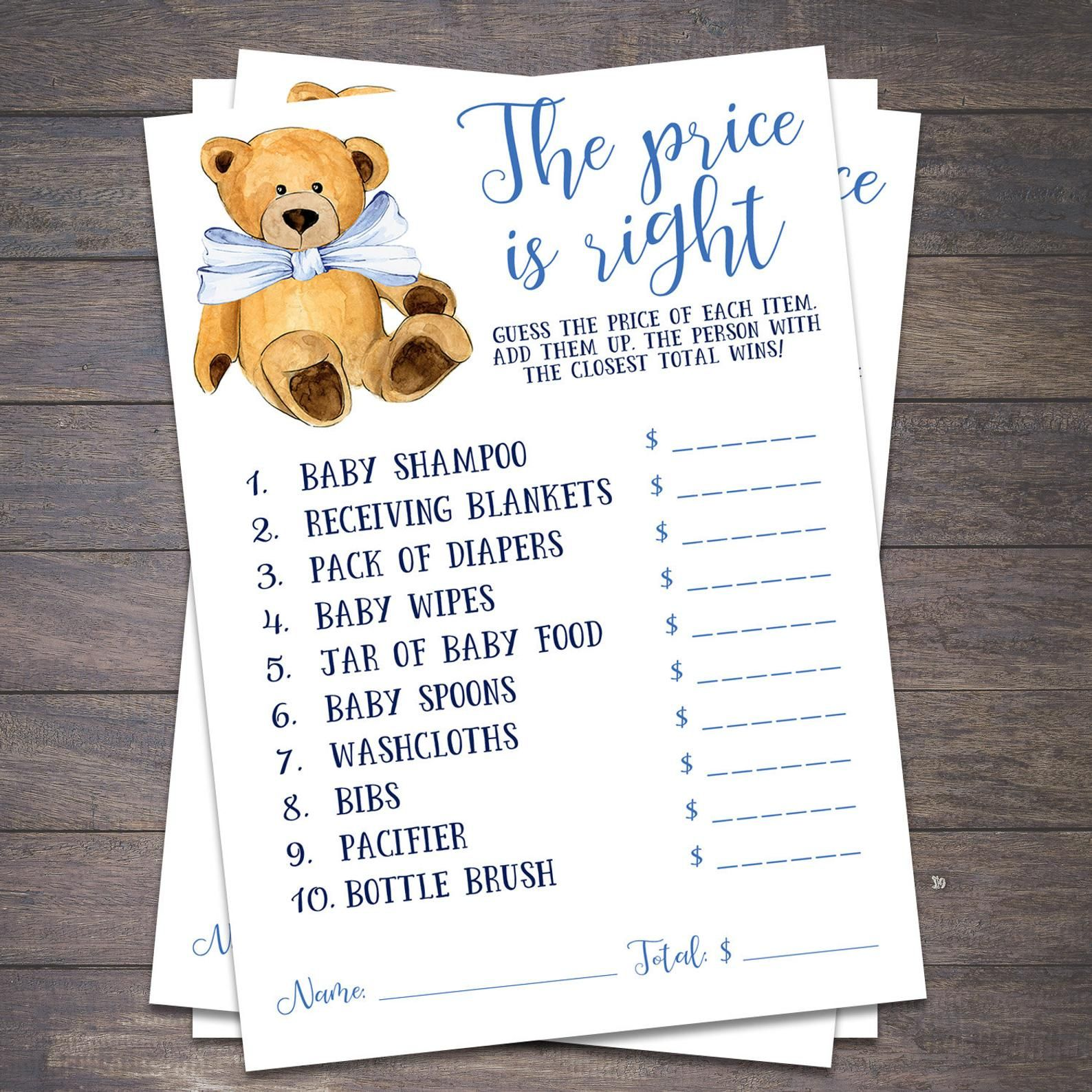 The Price Is Right Teddy Bear Baby Shower Games Printable