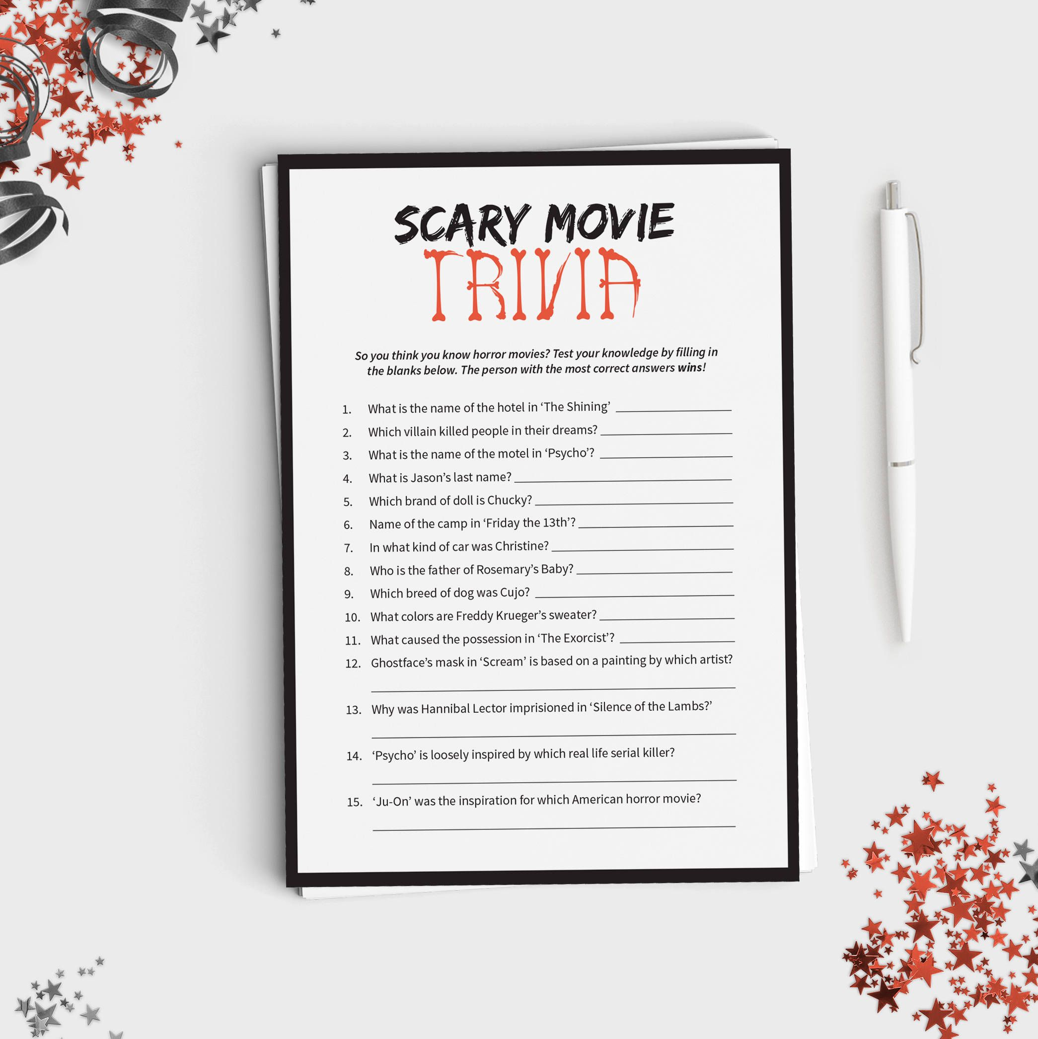 Halloween Game Scary Movie Trivia Fun Halloween Party