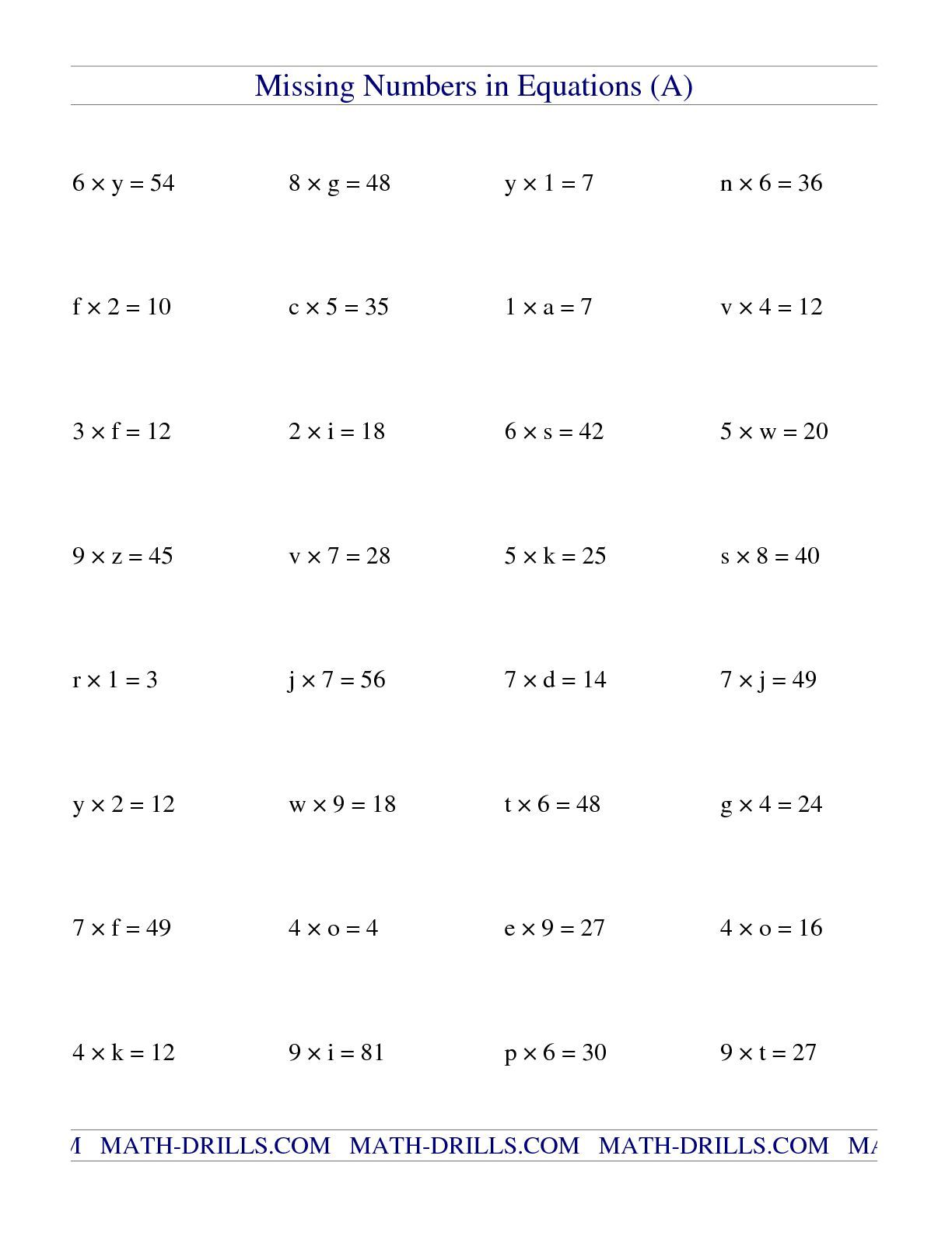 The Missing Numbers In Equations Variables