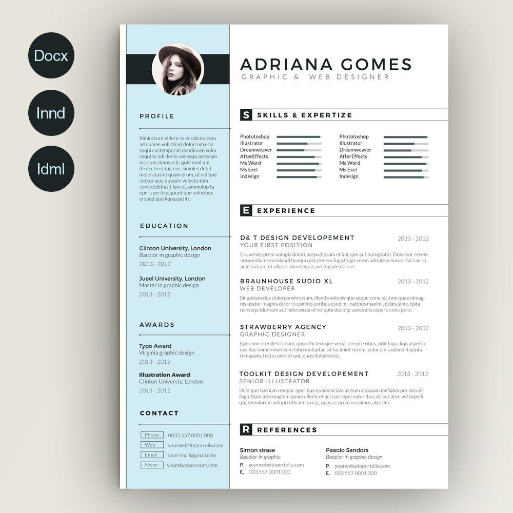 Light Resume by estart on Creative Market | Resume Templates | Pinterest