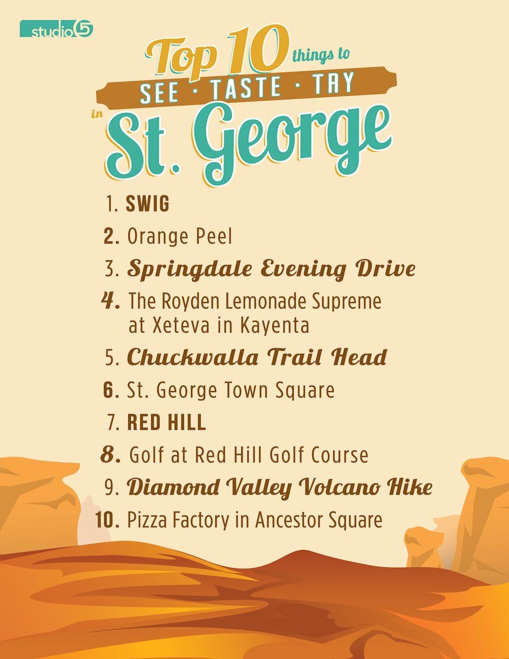 studio 5 - top 10 things to see, taste and try in st. george