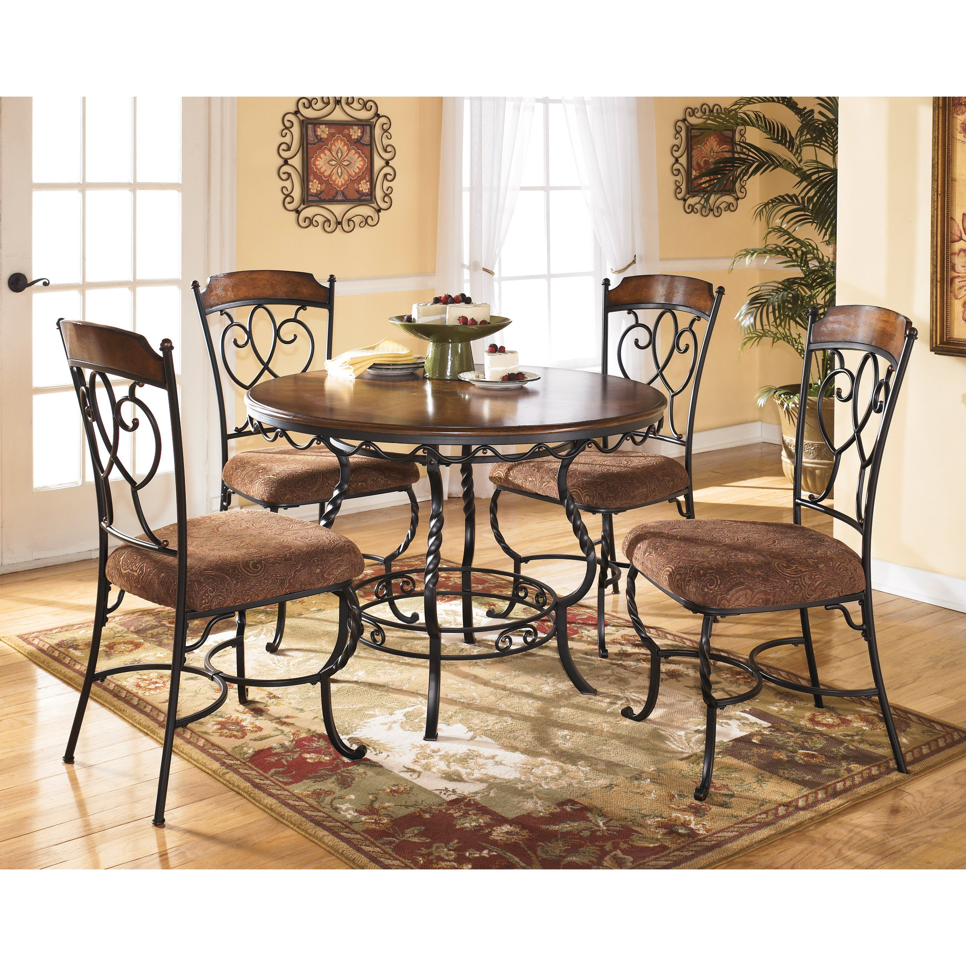 Signature design by ashley nola piece round dining table