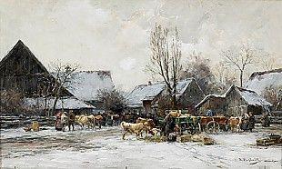 Karl Stuhlmüller - Wintry cattlemarket in Bavaria