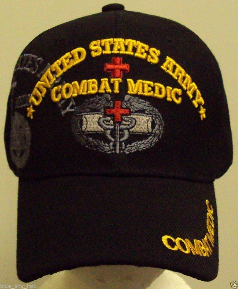Licensed U S Army Combat Medic Cap Hat Blk Highpremiumhats Baseballcap Combat Medic Emt Paramedic Army Medic