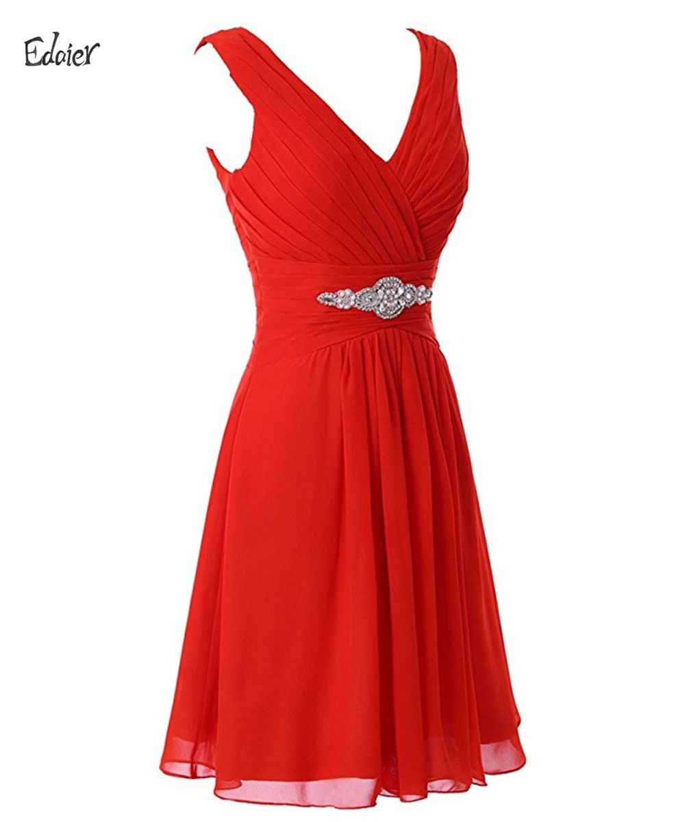 Click to buy ucuc edaier straps red chiffon short bridesmaid dress for